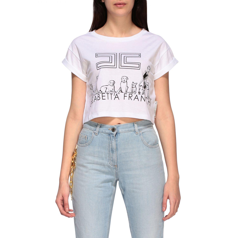 T-shirt Elisabetta Franchi cropped con stampa bianco 1