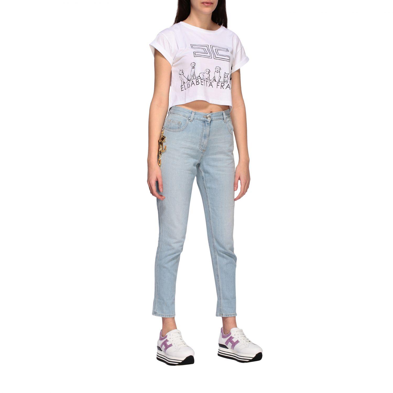 T-shirt Elisabetta Franchi cropped con stampa bianco 2