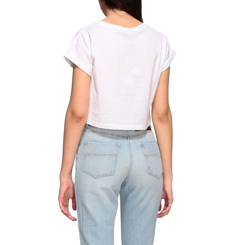 T-shirt Elisabetta Franchi cropped con stampa bianco 3