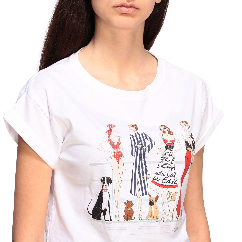 T-shirt Elisabetta Franchi cropped con stampa bianco 5