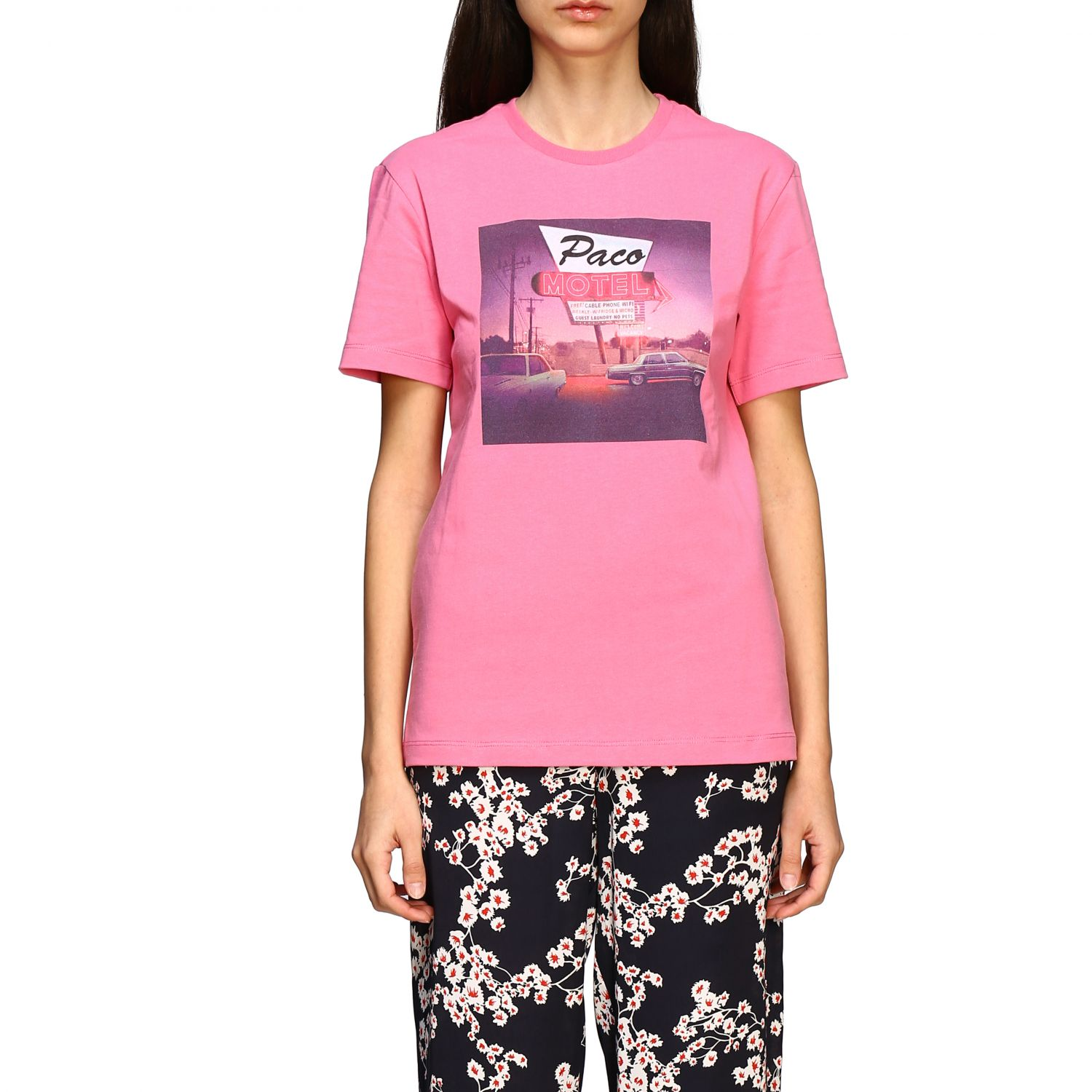T-shirt Paco Rabanne con stampa frontale rosa 1