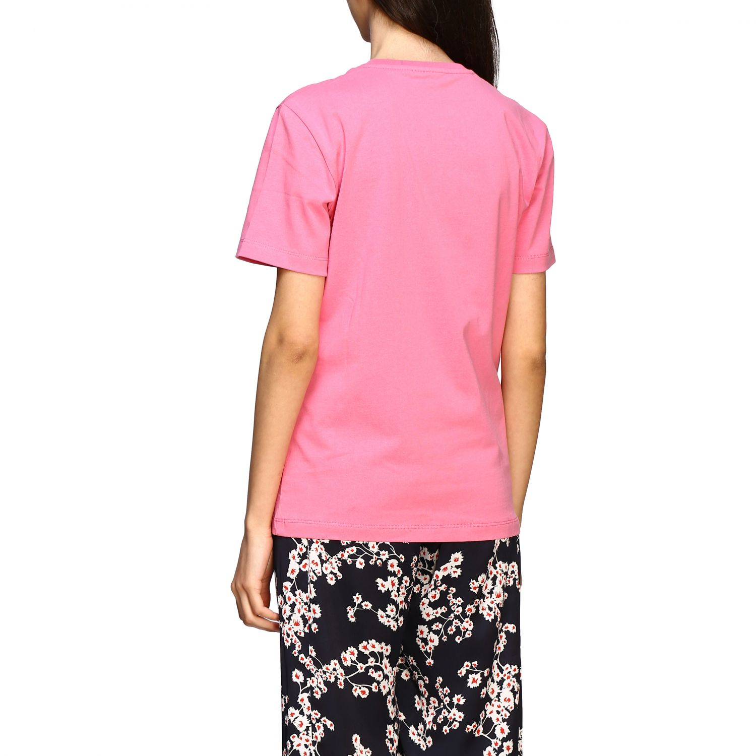T-shirt Paco Rabanne con stampa frontale rosa 3