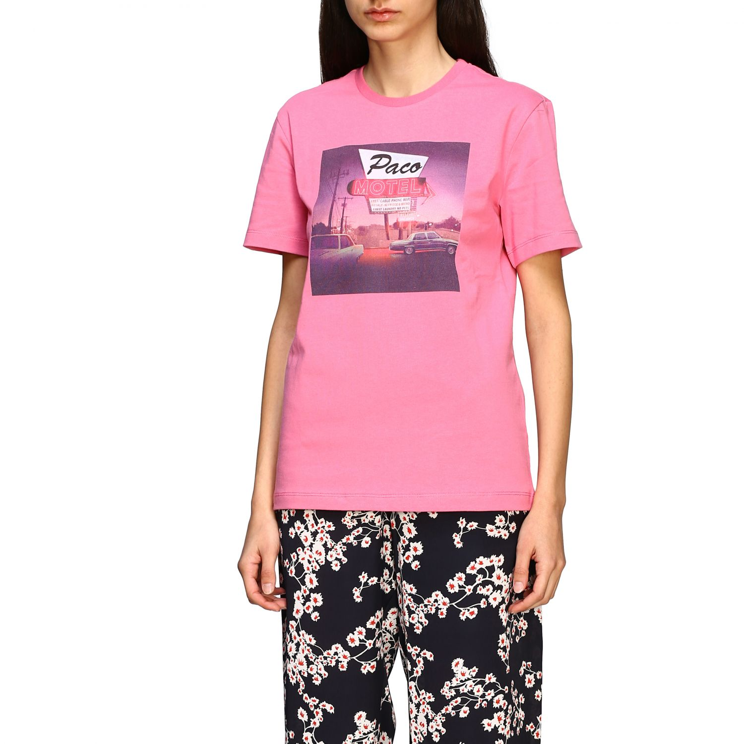 T-shirt Paco Rabanne con stampa frontale rosa 4