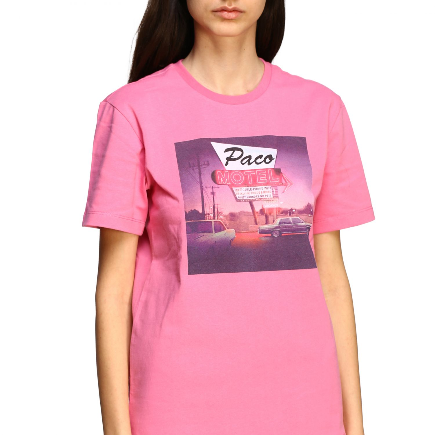 T-shirt Paco Rabanne con stampa frontale rosa 5