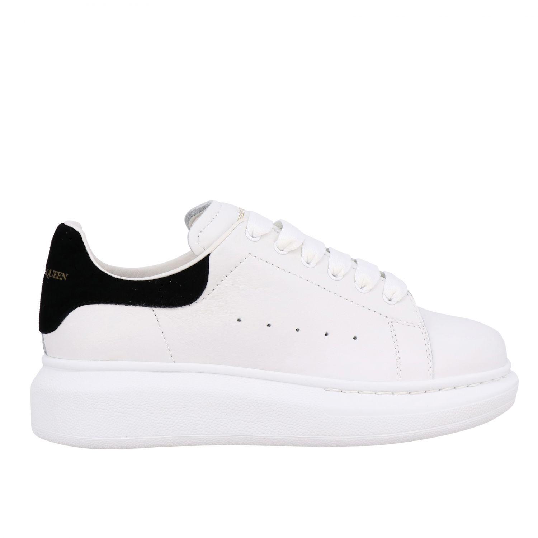 鞋履 Alexander Mcqueen: Alexander Mcqueen logo装饰光滑真皮运动鞋 白色 1