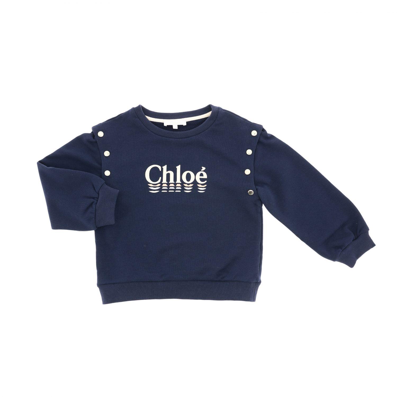Pull Chloé: Pull à col rond Chloé avec logo et boutons bleu 1
