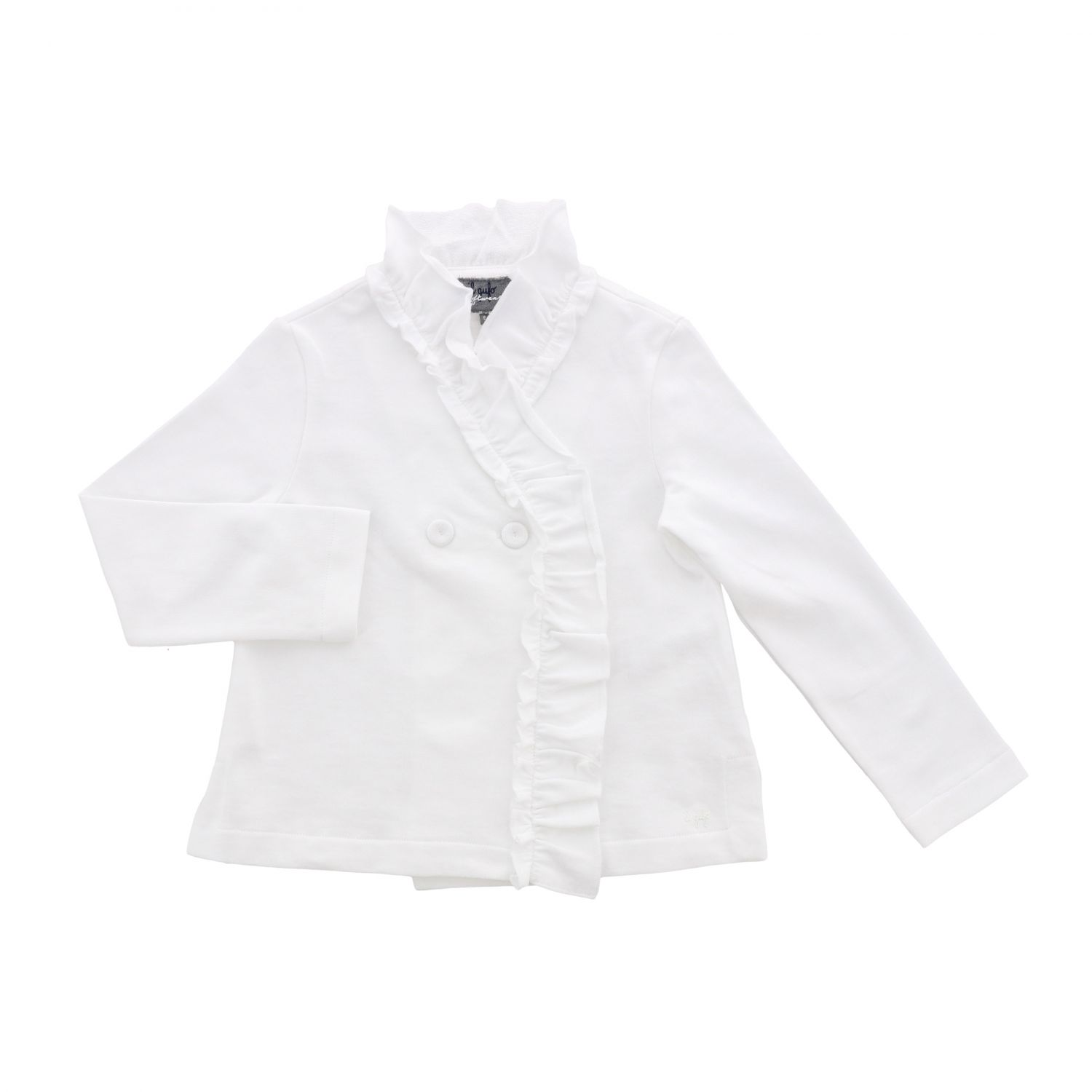 Double-breasted Il Gufo jacket with ruffles white 1