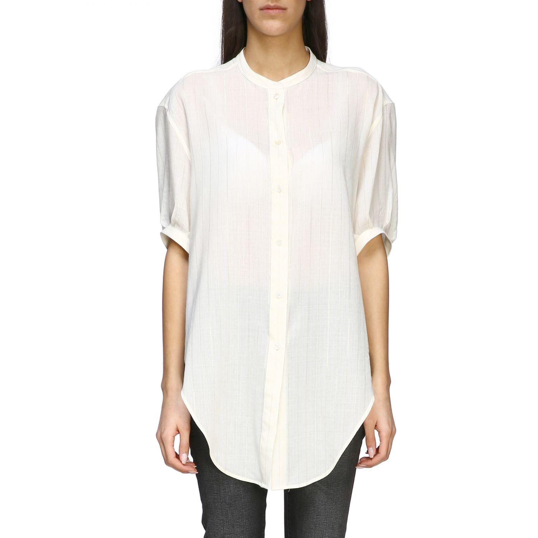 Camisa básica Saint Laurent con cuello mandarín blanco 1