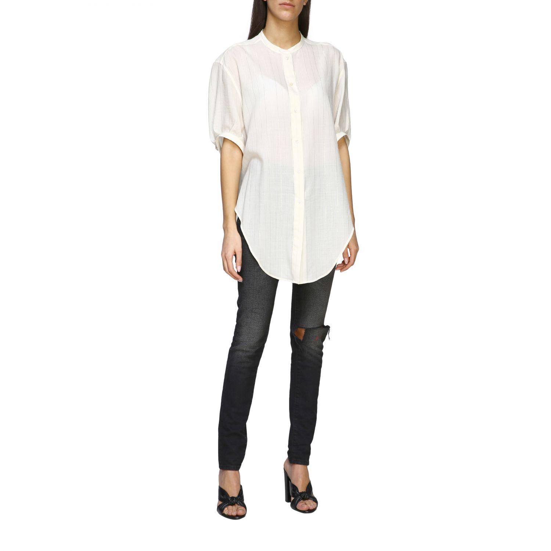 Camisa básica Saint Laurent con cuello mandarín blanco 2
