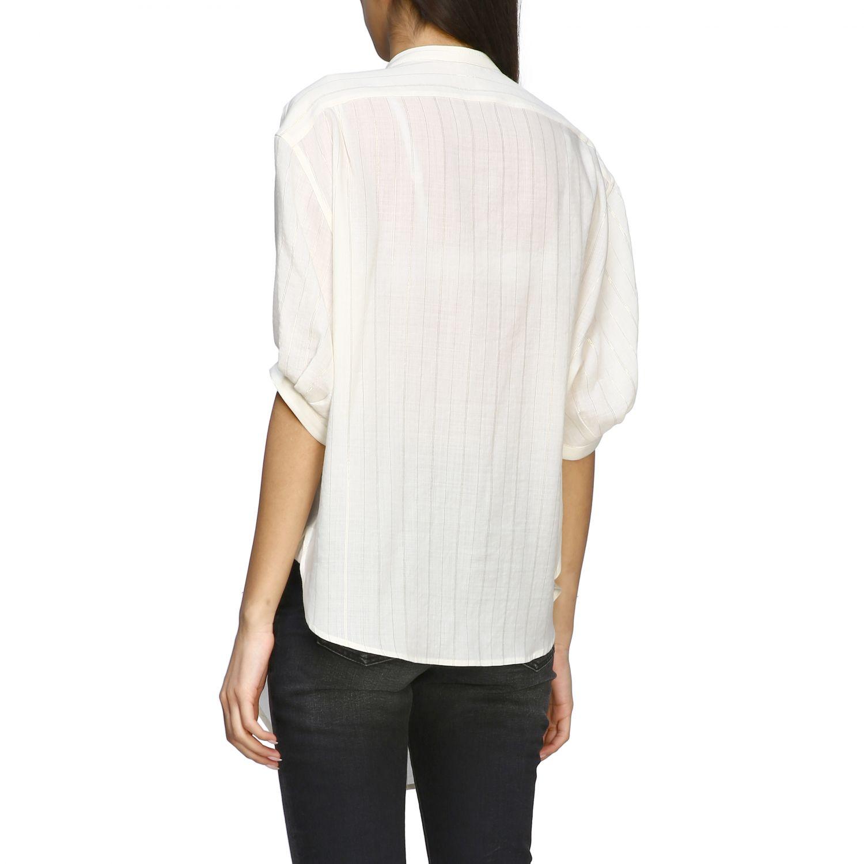 Camisa básica Saint Laurent con cuello mandarín blanco 3