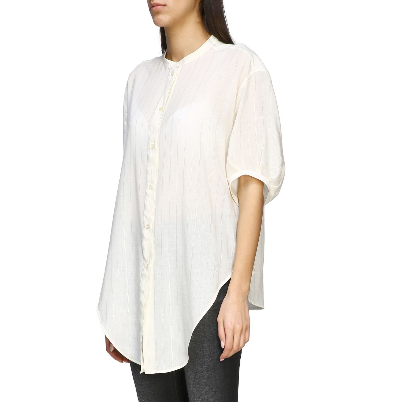 Camisa básica Saint Laurent con cuello mandarín blanco 4