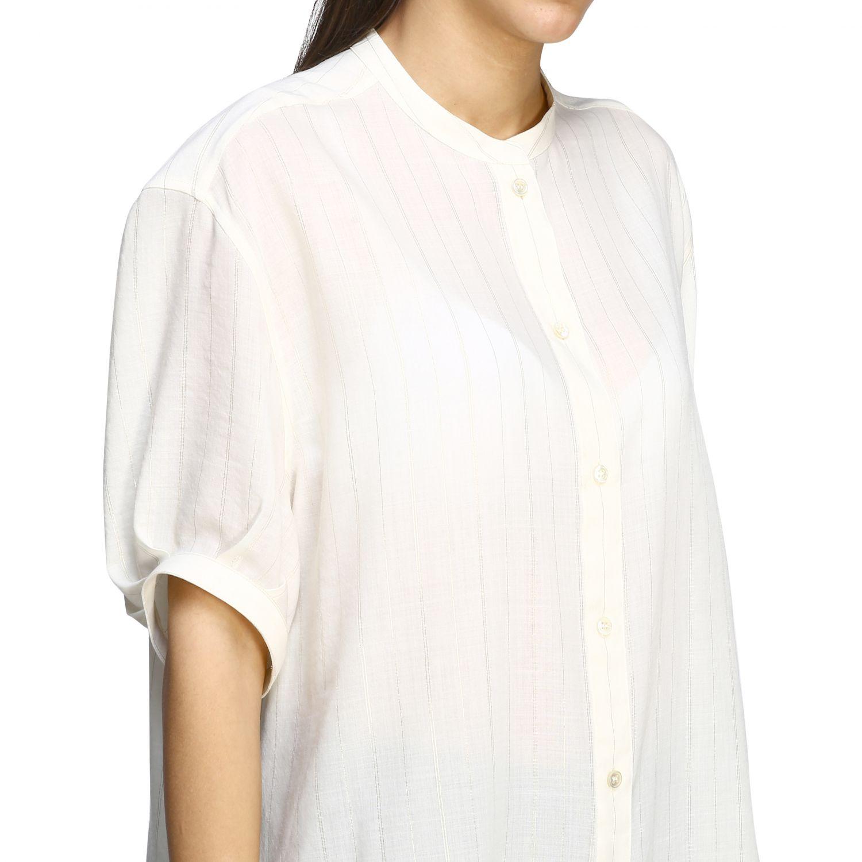 Camisa básica Saint Laurent con cuello mandarín blanco 5