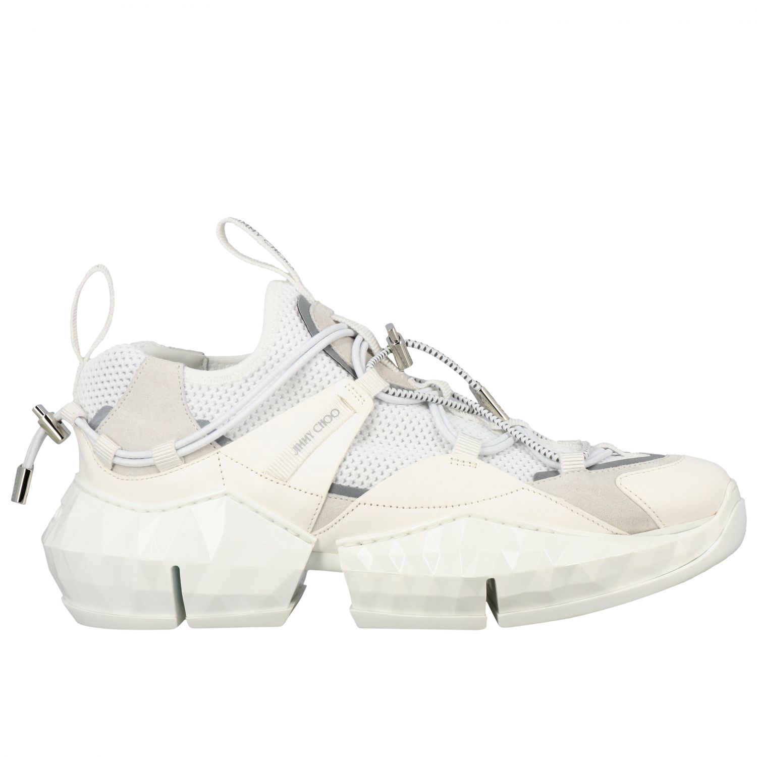 Sneakers Diamond Trail/F Jimmy Choo in mesh stretch e pelle bianco 1