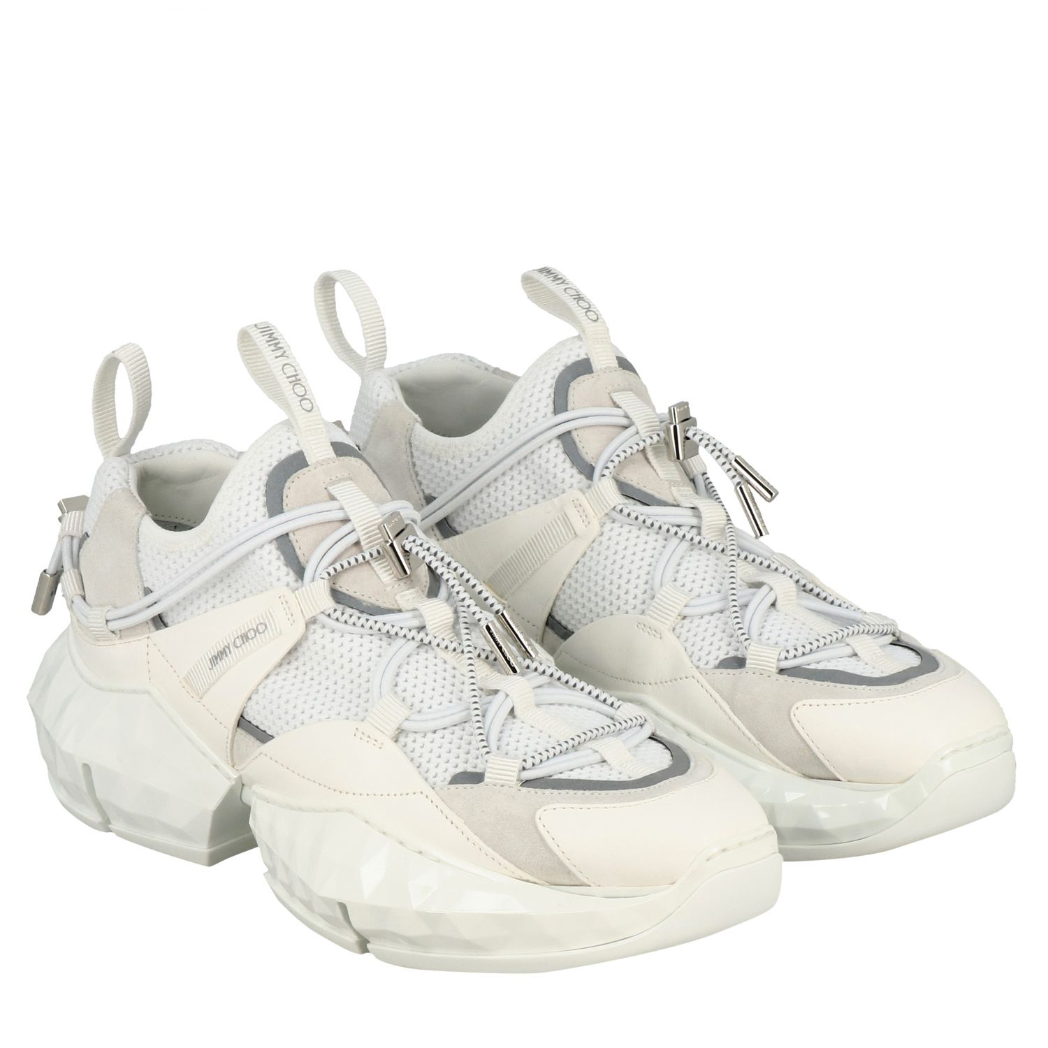 Sneakers Diamond Trail/F Jimmy Choo in mesh stretch e pelle bianco 2