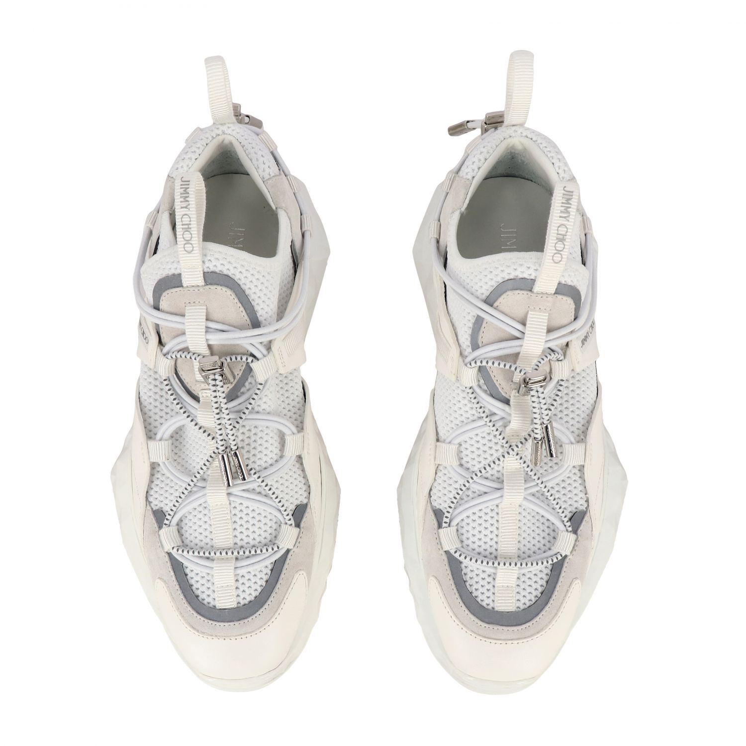 Sneakers Diamond Trail/F Jimmy Choo in mesh stretch e pelle bianco 3