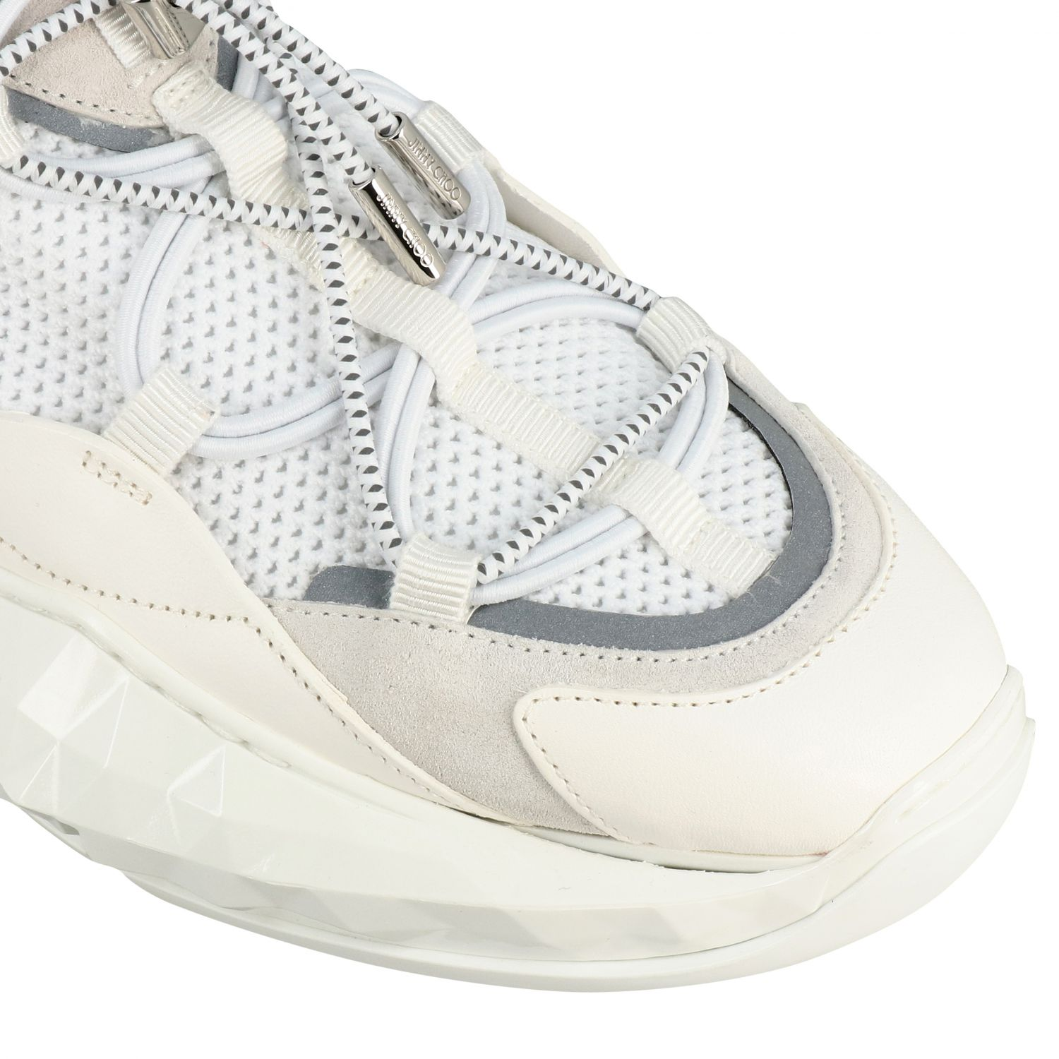 Sneakers Diamond Trail/F Jimmy Choo in mesh stretch e pelle bianco 4