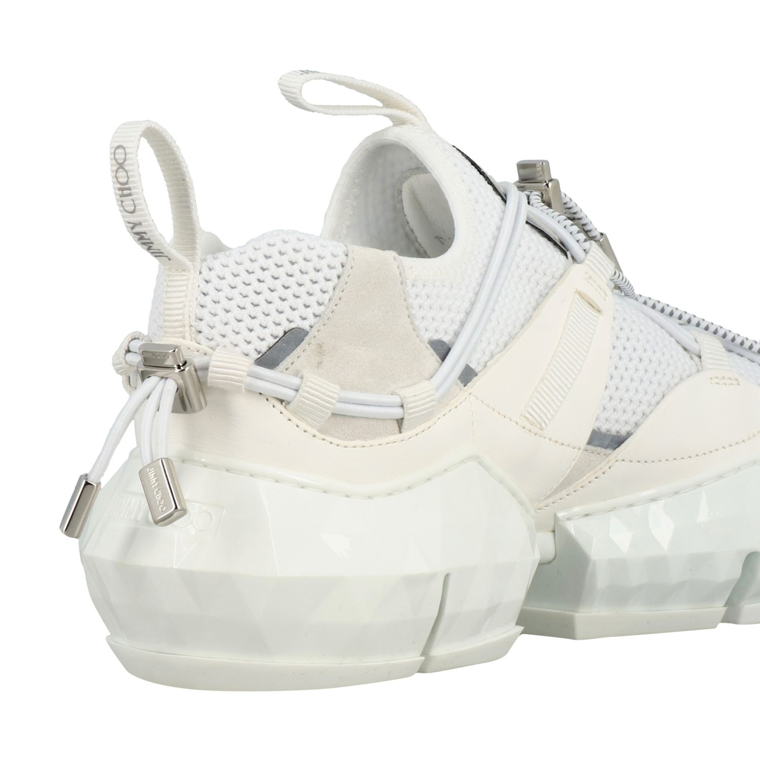 Sneakers Diamond Trail/F Jimmy Choo in mesh stretch e pelle bianco 5