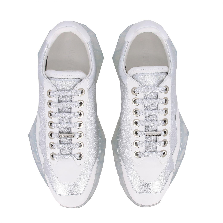 Sneakers Diamond Jimmy Choo in pelle laminata e pelle liscia argento 3