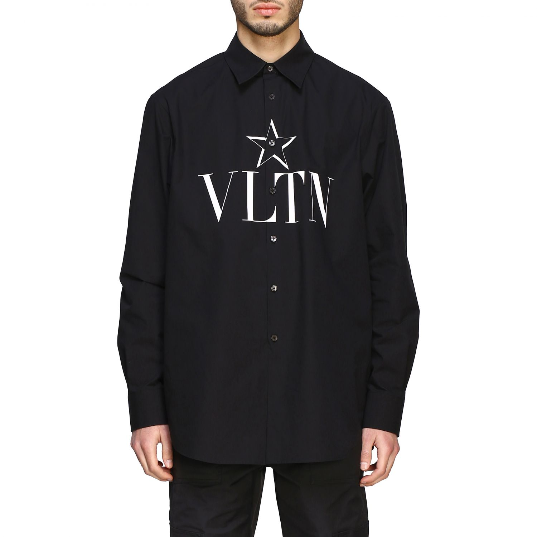 Camicia Valentino con stampa VLTN e stella nero 1