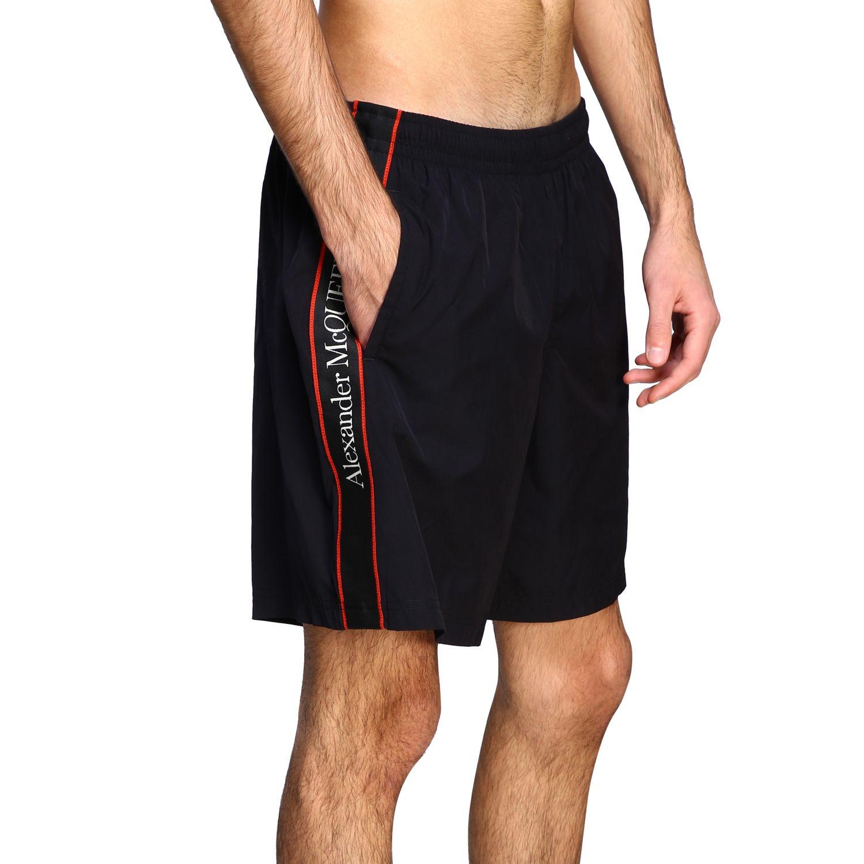 Costume Alexander Mcqueen: Costume Alexander Mcqueen a boxer con bande logate nero 4