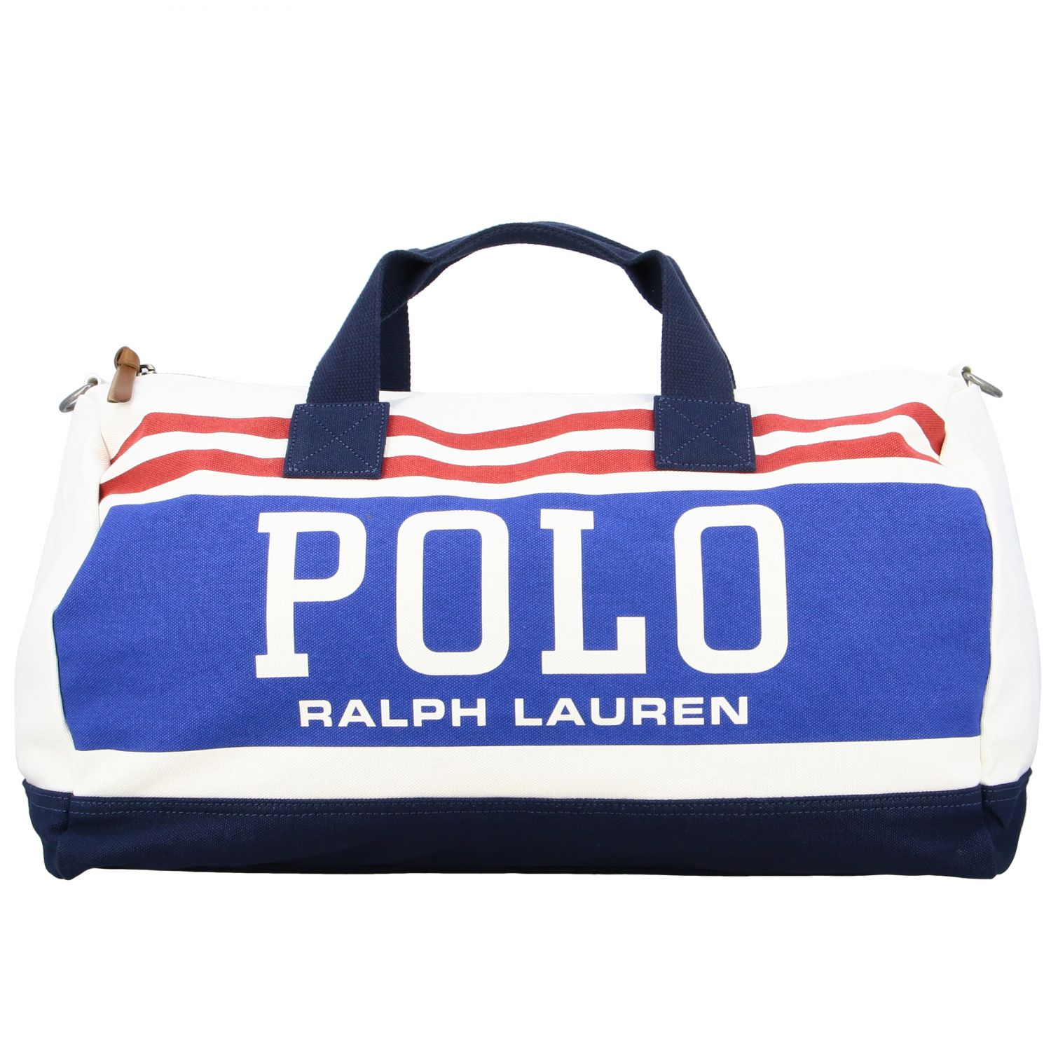 Borsone Polo Ralph Lauren in tela con big logo bianco 1