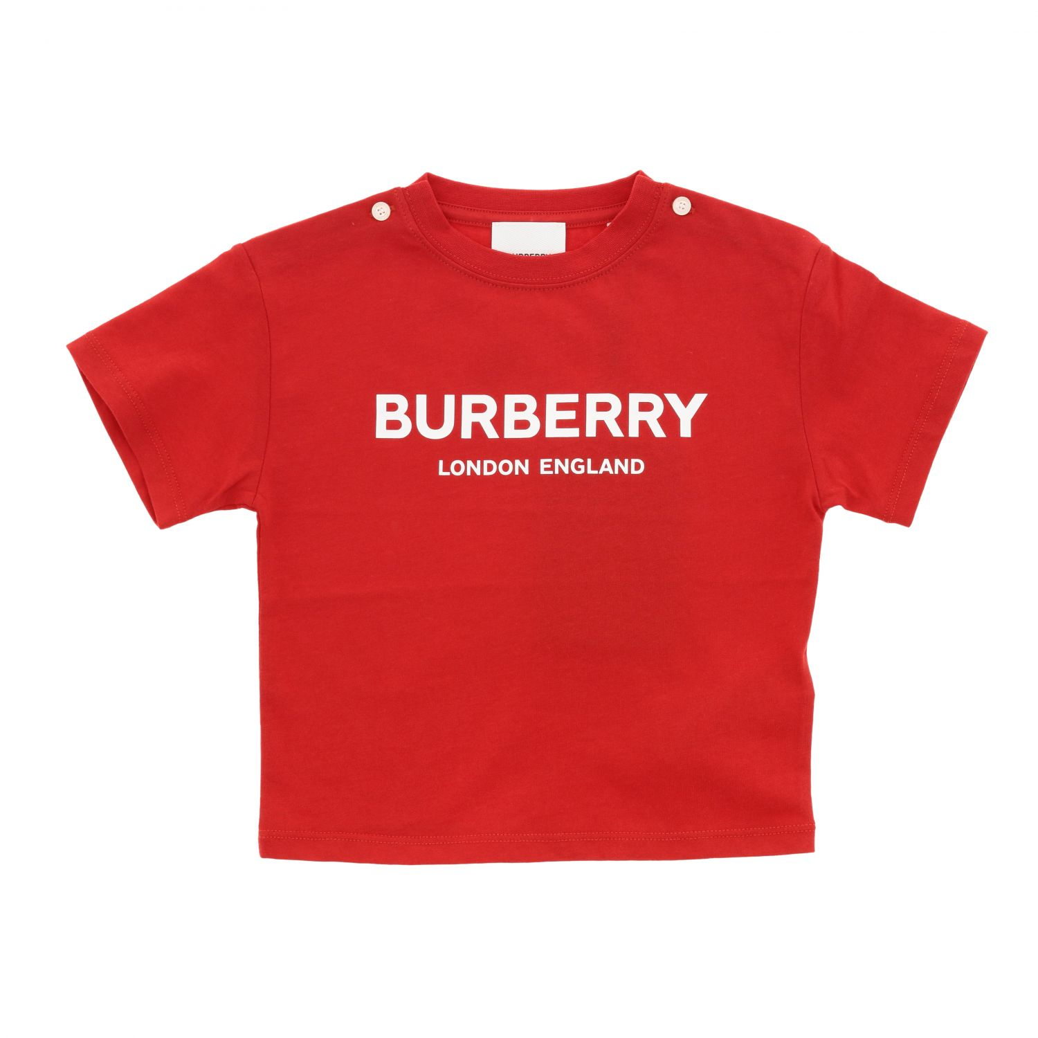 T-shirt Burberry Infant: T-shirt Burberry Infant a maniche corte con logo rosso 1