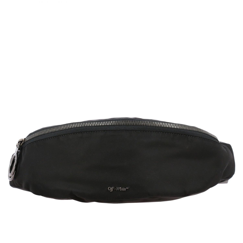 Off White nylon belt bag with metallic logo black 1