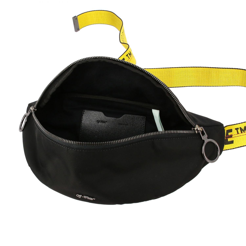 Off White nylon belt bag with metallic logo black 5