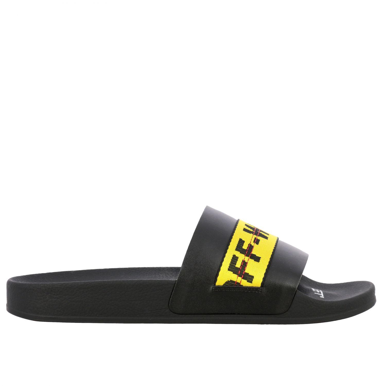 Sandalo Off White in gomma con maxi logo nero 1