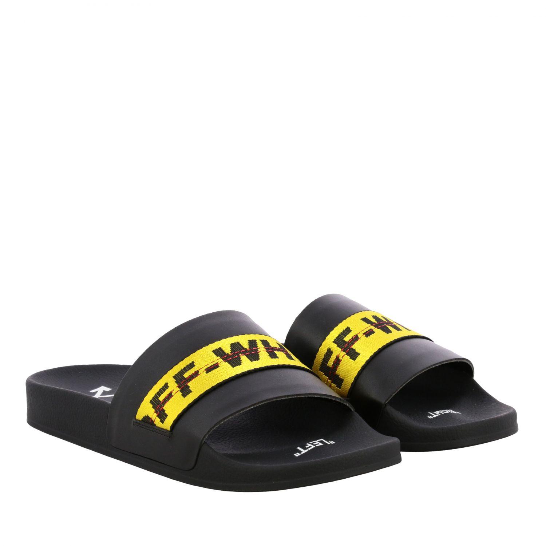 Sandalo Off White in gomma con maxi logo nero 2