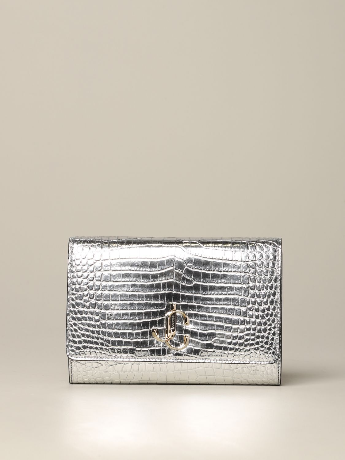 Jimmy Choo bag in smooth leather with logo silver 1