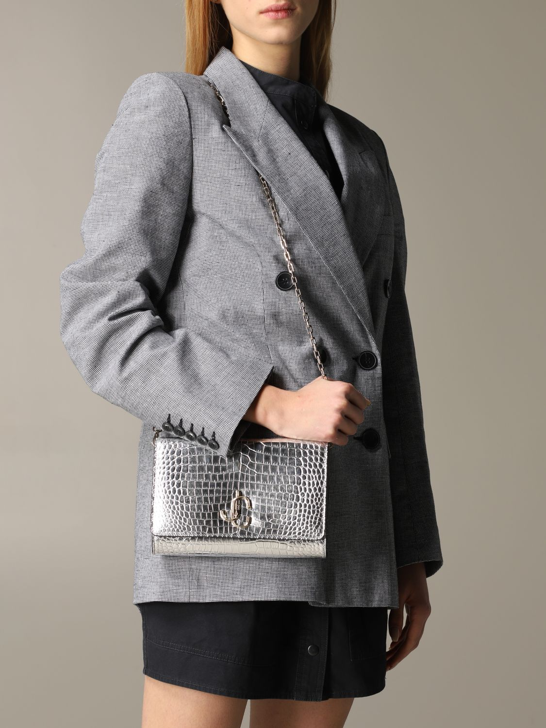 Jimmy Choo bag in smooth leather with logo silver 2