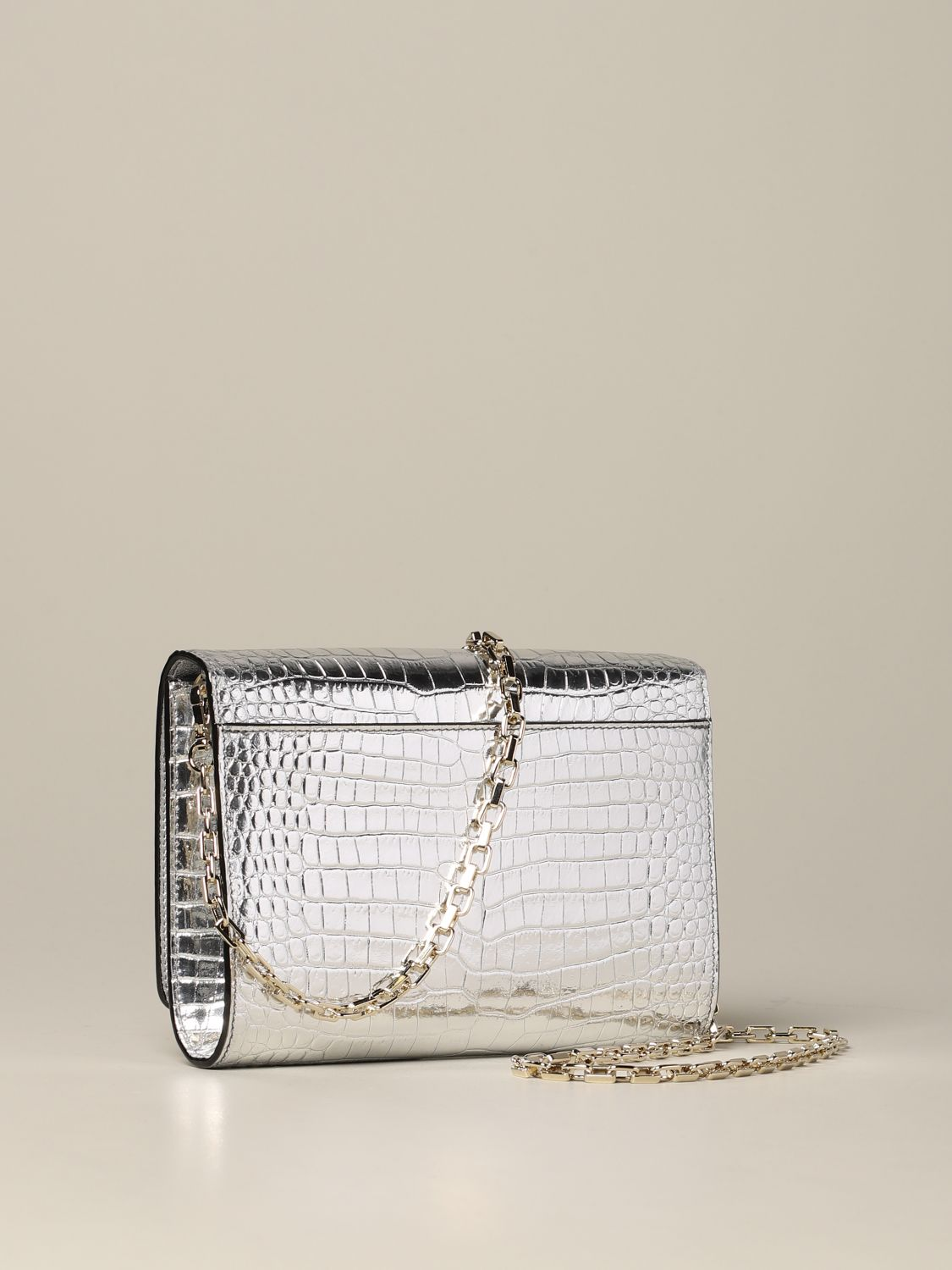 Jimmy Choo bag in smooth leather with logo silver 3