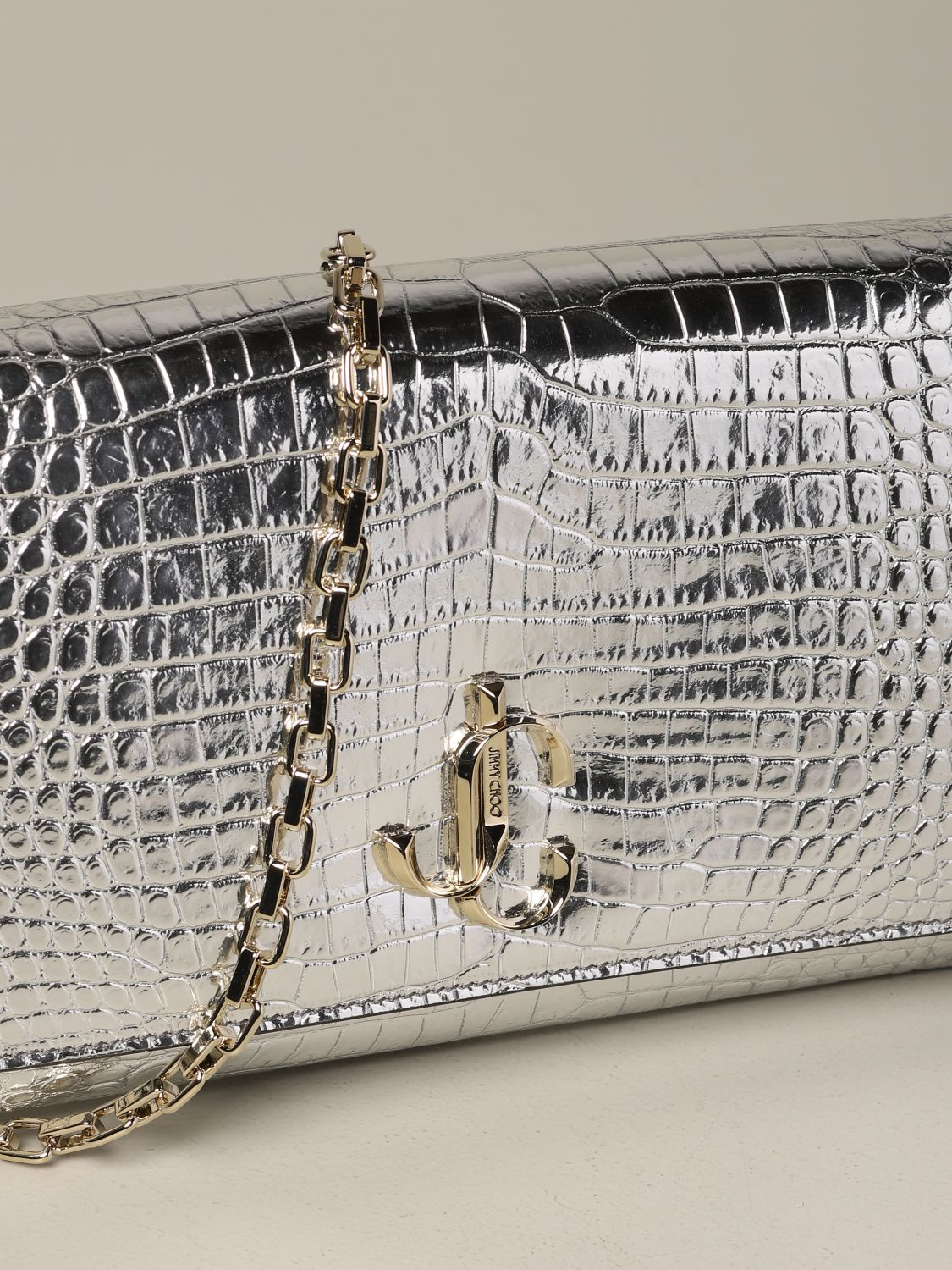 Jimmy Choo bag in smooth leather with logo silver 4