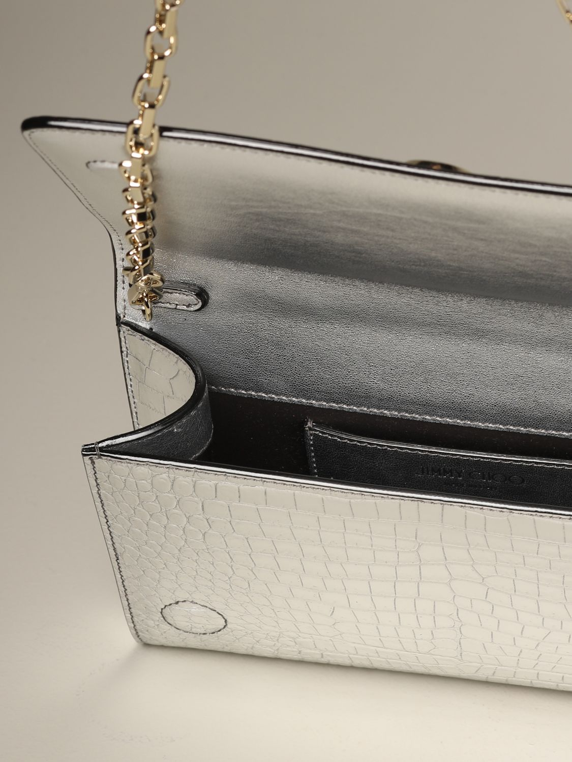 Jimmy Choo bag in smooth leather with logo silver 5