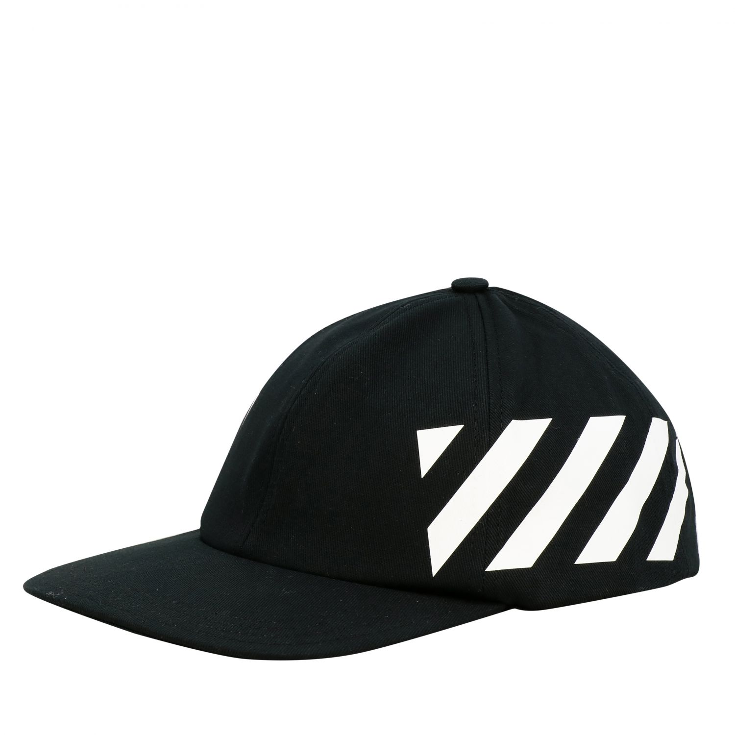 Off White Baseball Style Hat With Diagonal Bands Hat Off White Men Black Hat Off White Omlb008r20400018 Giglio En