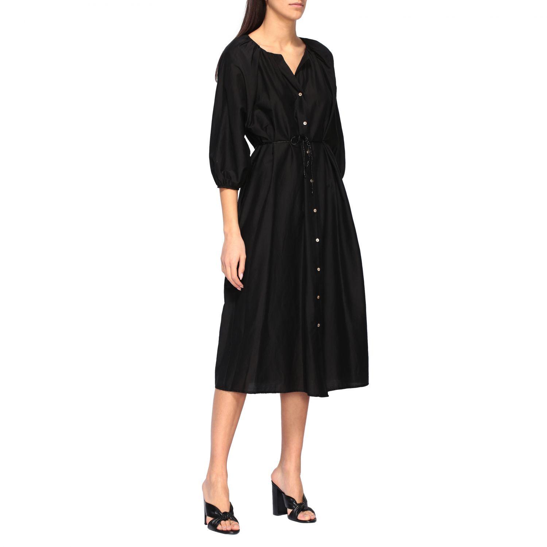 MomonÌ 配腰带长款连衣裙 黑色 1