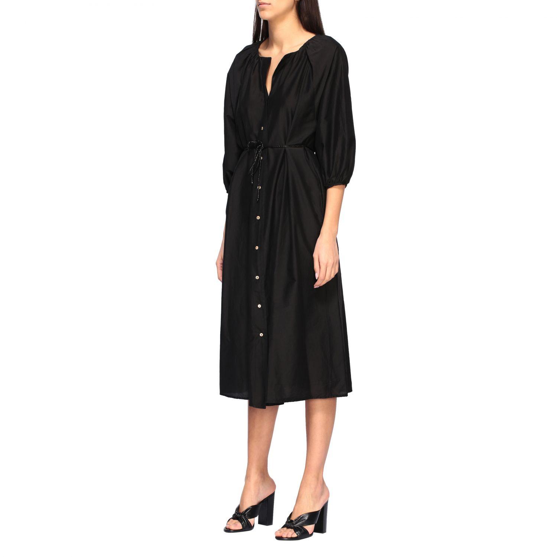 MomonÌ 配腰带长款连衣裙 黑色 3