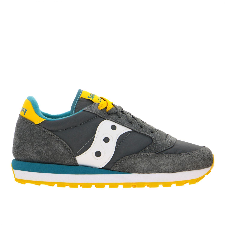 Sneakers Saucony in nylon pelle e camoscio con suola in gomma a righe grigio 1