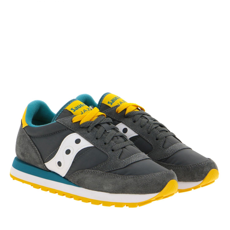 Sneakers Saucony in nylon pelle e camoscio con suola in gomma a righe grigio 2