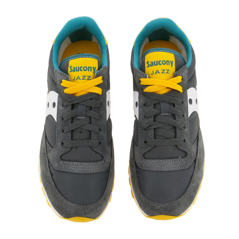Sneakers Saucony in nylon pelle e camoscio con suola in gomma a righe grigio 3