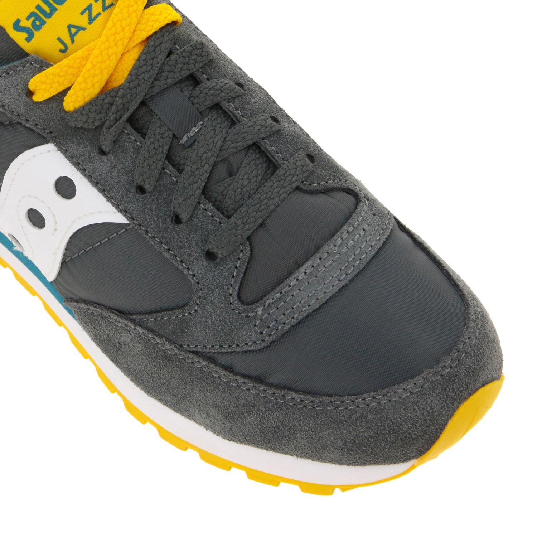 Sneakers Saucony in nylon pelle e camoscio con suola in gomma a righe grigio 4