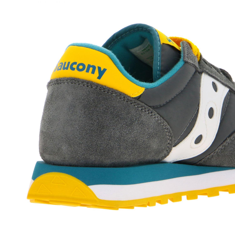 Sneakers Saucony in nylon pelle e camoscio con suola in gomma a righe grigio 5