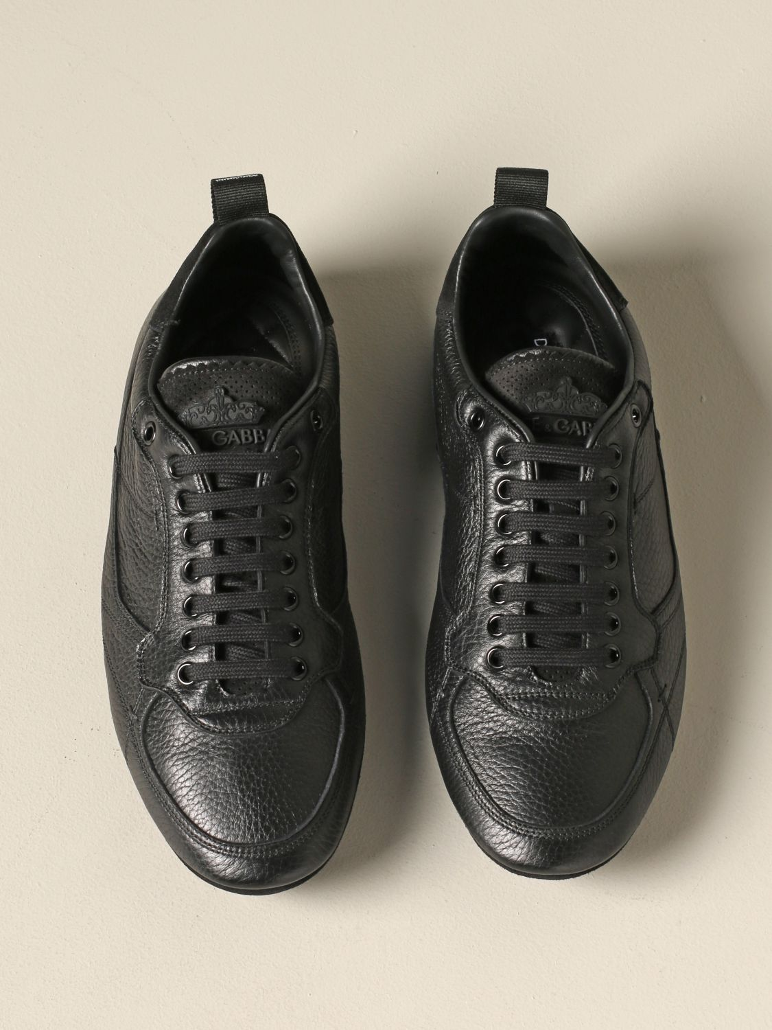 Brogue shoes Dolce & Gabbana: Dolce & Gabbana leather sneakers with logo black 3