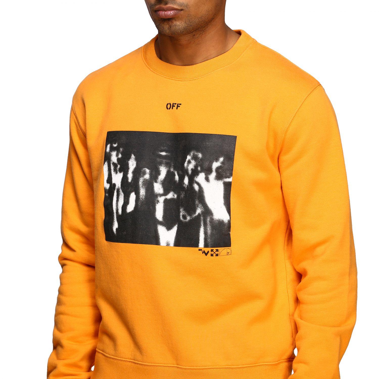 Felpa Off White con stampa e logo arancione 5