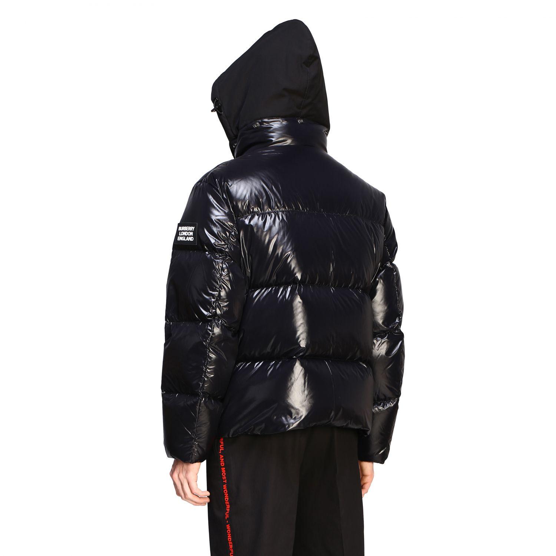Piumino Burberry in nylon lucido e imbottito con cappuccio nero 3