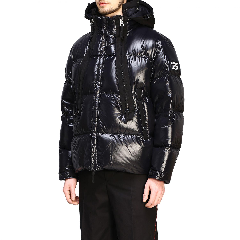 Piumino Burberry in nylon lucido e imbottito con cappuccio nero 4