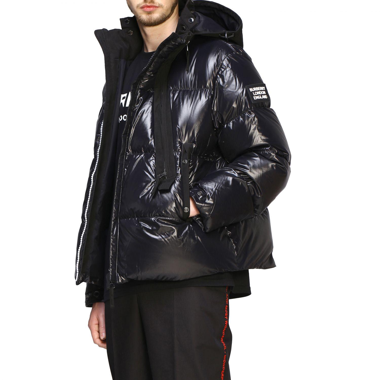 Piumino Burberry in nylon lucido e imbottito con cappuccio nero 5