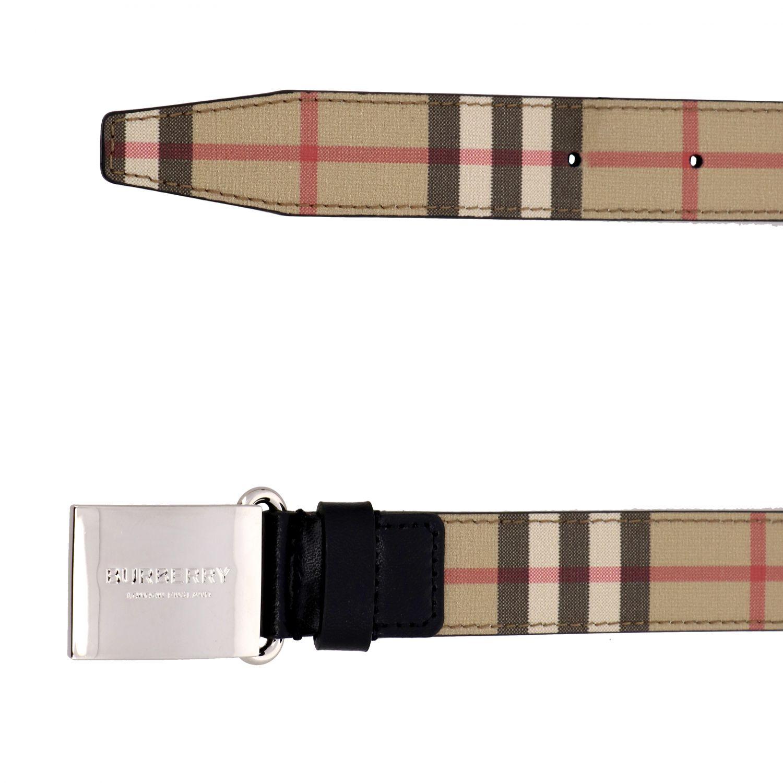 Burberry logo装饰金属扣格纹帆布腰带 米色 2