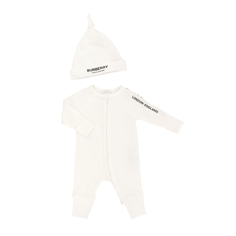 Burberry Infant onesie + hat set white 1
